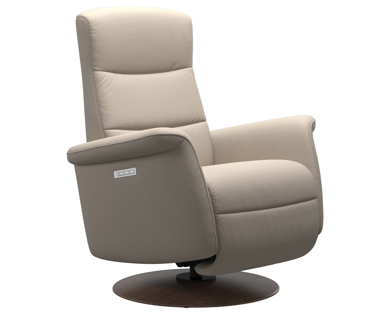 Paloma Leather Fog S/M/L & Walnut Base | Stressless Mike Recliner | Valley Ridge Furniture