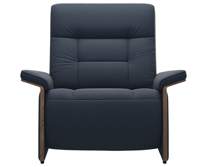 Paloma Leather Oxford Blue & Walnut Arm Trim | Stressless Mary Chair | Valley Ridge Furniture