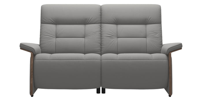 Paloma Leather Silver Grey & Walnut Arm Trim | Stressless Mary 2-Seater Sofa | Valley Ridge Furniture