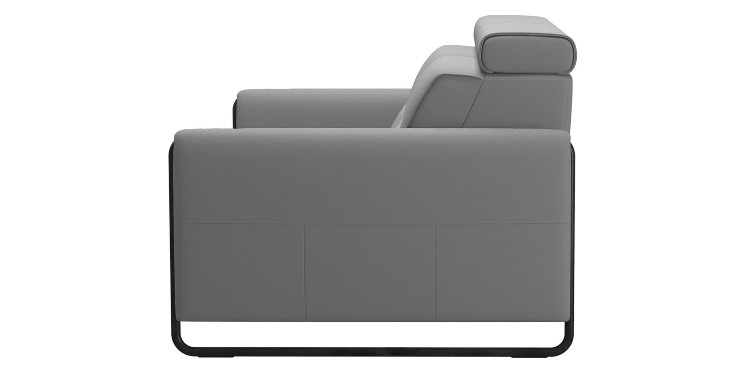 Paloma Leather Silver Grey & Matte Black Arm Trim | Stressless Emily 2-Seater Sofa | Valley Ridge Furniture
