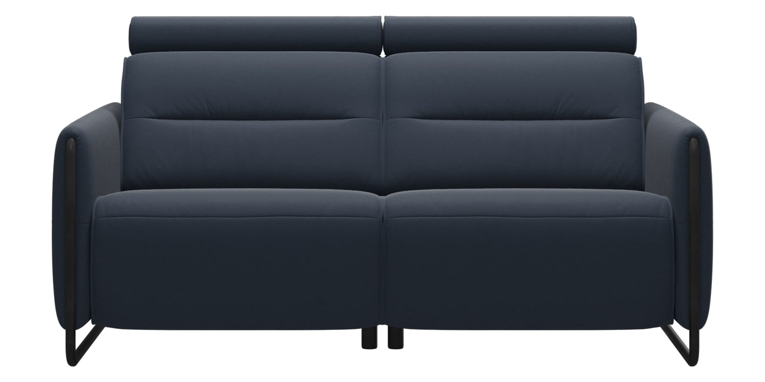 Paloma Leather Oxford Blue & Matte Black Arm Trim | Stressless Emily 2-Seater Sofa | Valley Ridge Furniture