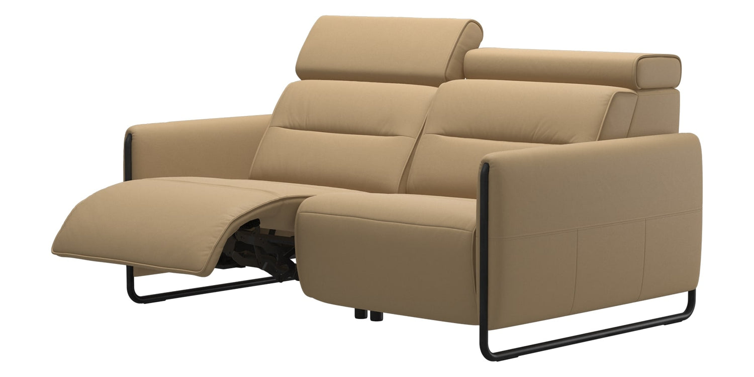 Paloma Leather Sand & Matte Black Arm Trim | Stressless Emily 2-Seater Sofa | Valley Ridge Furniture