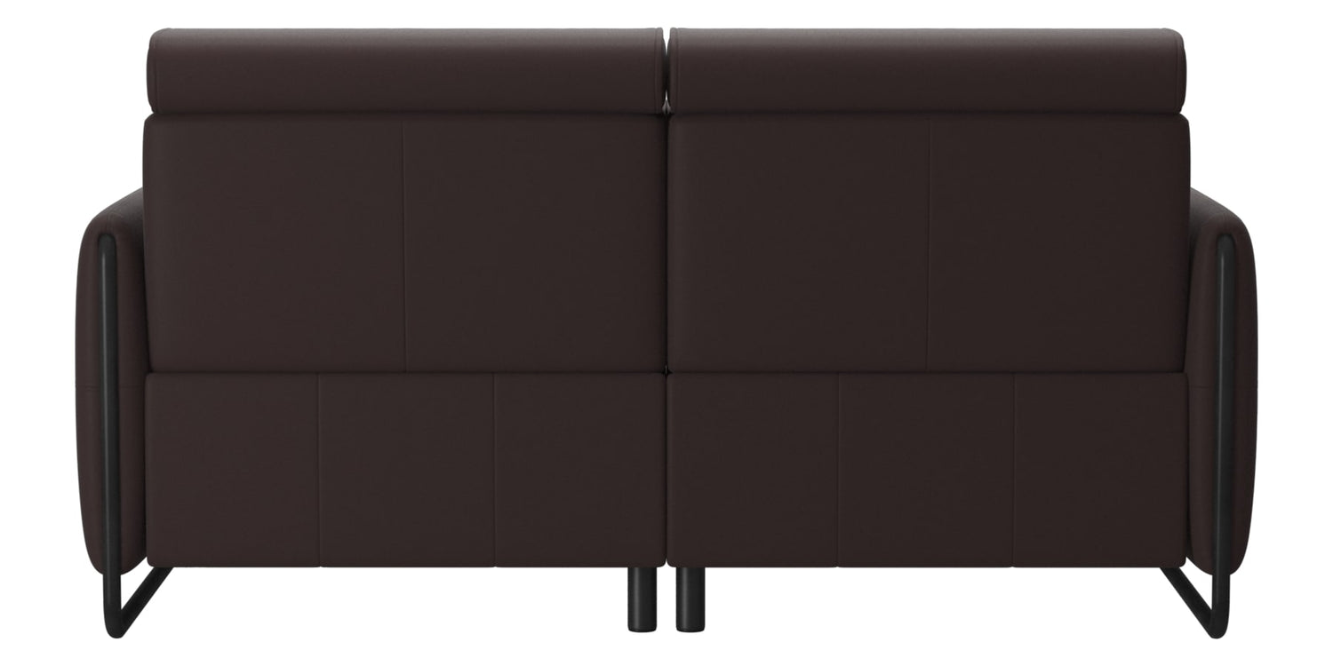 Paloma Leather Chocolate & Matte Black Arm Trim | Stressless Emily 2-Seater Sofa | Valley Ridge Furniture