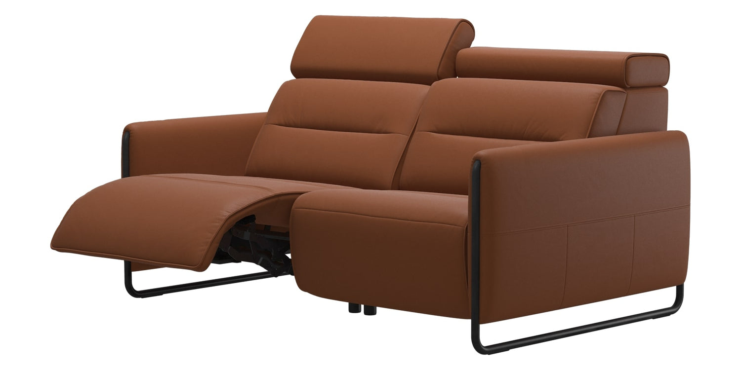 Paloma Leather New Cognac & Matte Black Arm Trim | Stressless Emily 2-Seater Sofa | Valley Ridge Furniture