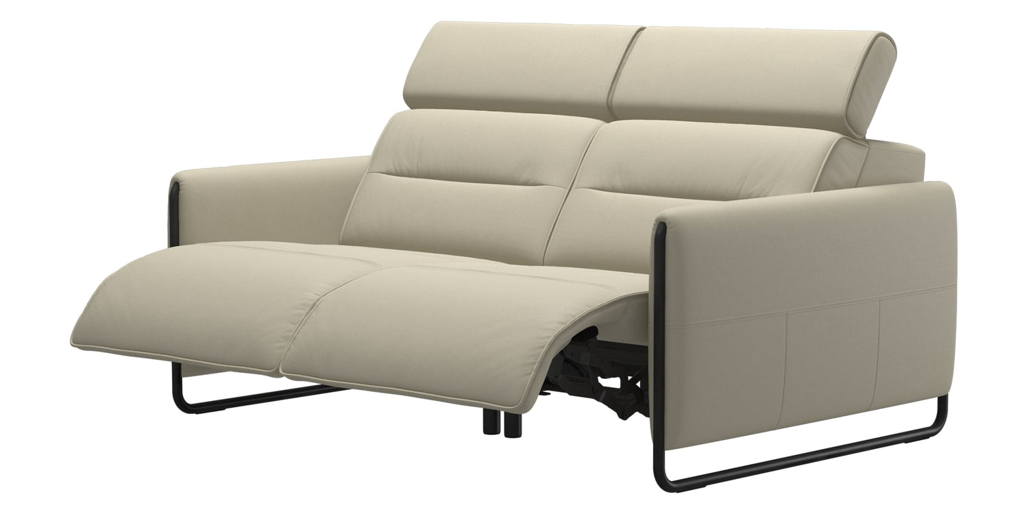 Paloma Leather Light Grey & Matte Black Arm Trim | Stressless Emily 2-Seater Sofa | Valley Ridge Furniture
