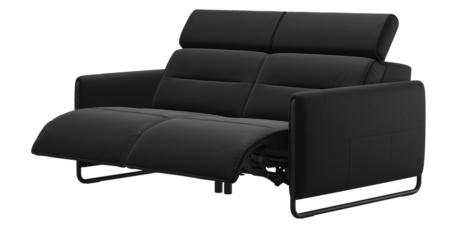 Paloma Leather Black & Matte Black Arm Trim | Stressless Emily 2-Seater Sofa | Valley Ridge Furniture