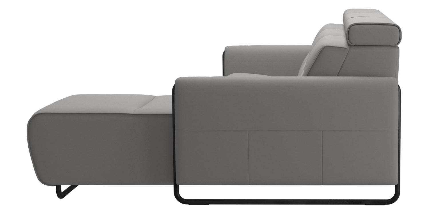Paloma Leather Silver Grey & Matte Black Arm Trim | Stressless Emily 2-Seater Sofa with Long Seat | Valley Ridge Furniture
