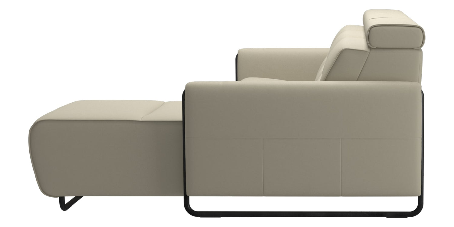 Paloma Leather Light Grey & Matte Black Arm Trim | Stressless Emily 2-Seater Sofa with Long Seat | Valley Ridge Furniture