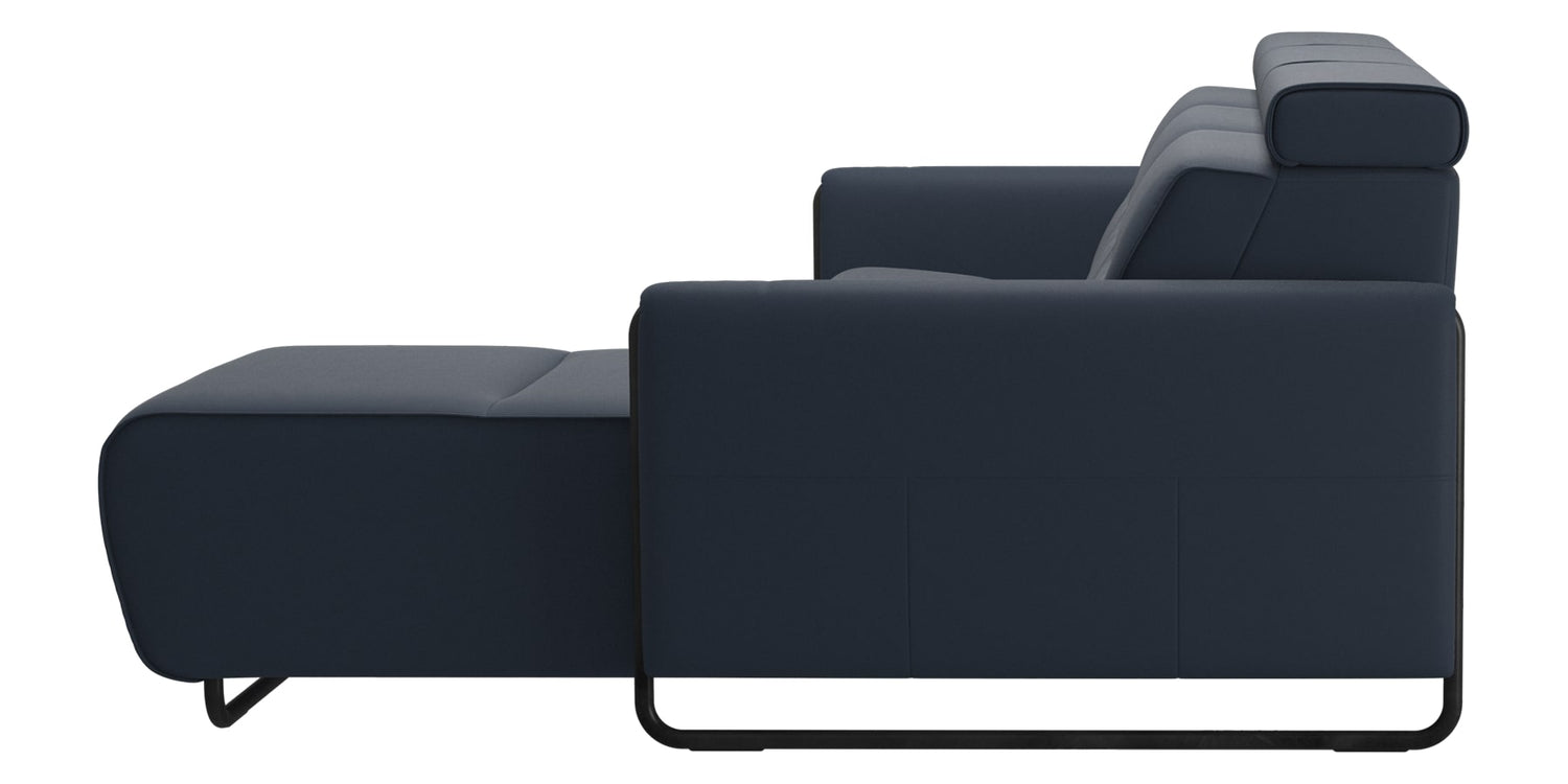 Paloma Leather Oxford Blue & Matte Black Arm Trim | Stressless Emily 2-Seater Sofa with Long Seat | Valley Ridge Furniture