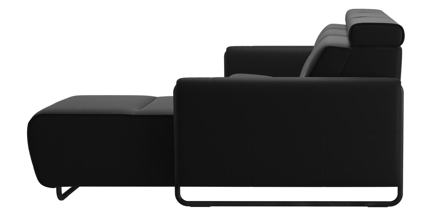 Paloma Leather Black & Matte Black Arm Trim | Stressless Emily 2-Seater Sofa with Long Seat | Valley Ridge Furniture