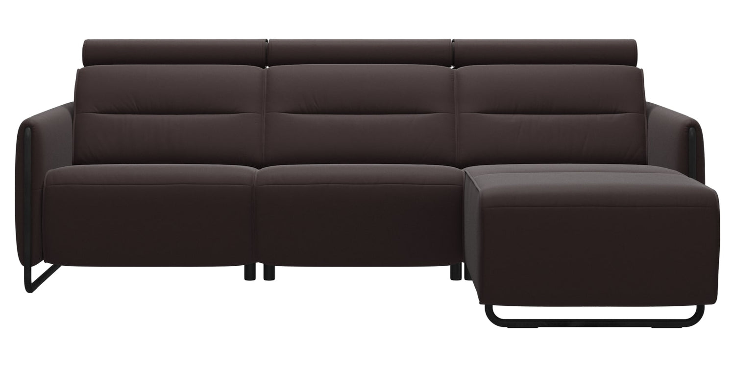 Paloma Leather Chocolate & Matte Black Arm Trim | Stressless Emily 2-Seater Sofa with Long Seat | Valley Ridge Furniture