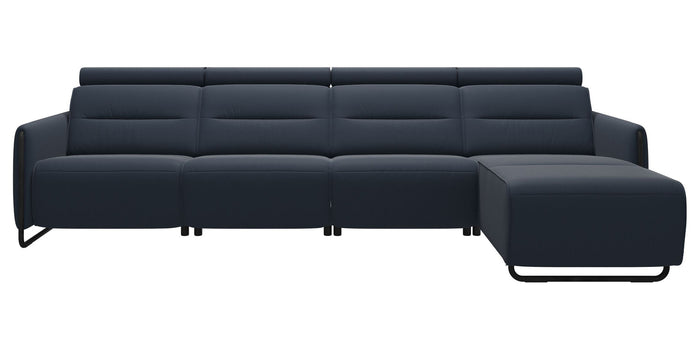 Paloma Leather Oxford Blue & Matte Black Arm Trim | Stressless Emily 3-Seater Sofa with Long Seat | Valley Ridge Furniture