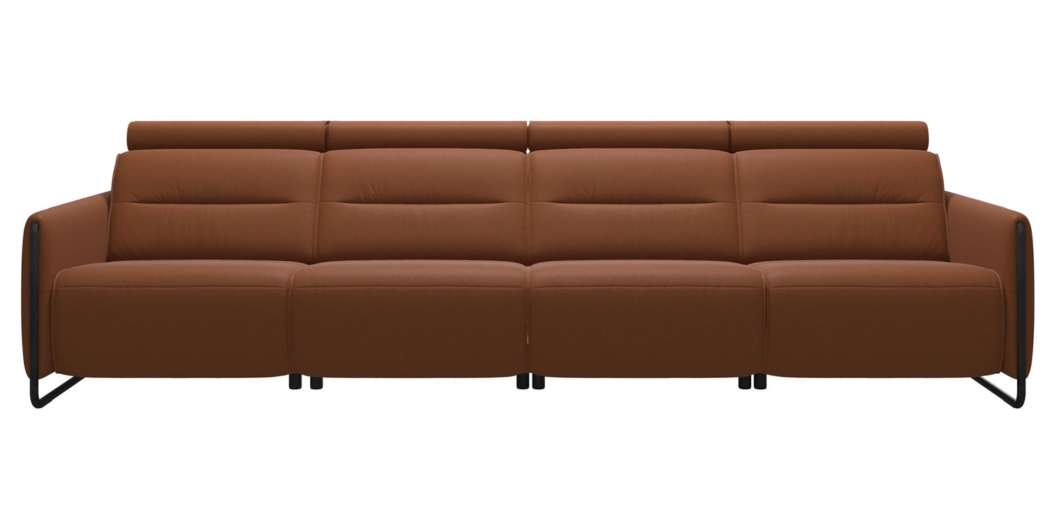 Paloma Leather New Cognac & Matte Black Arm Trim | Stressless Emily 4-Seater Sofa | Valley Ridge Furniture