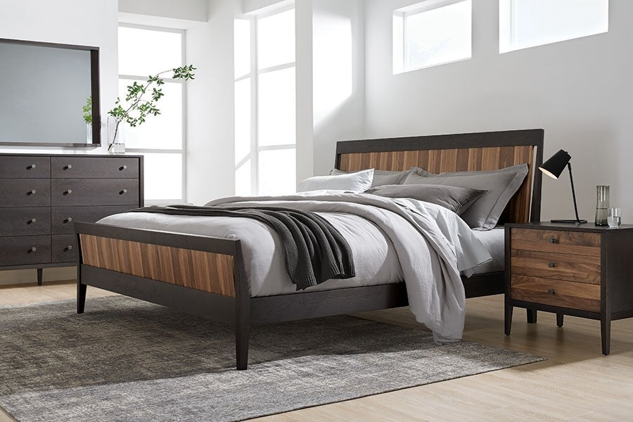Carbon with Walnut Stripe | West Bros Hayden Wood Panel Bed