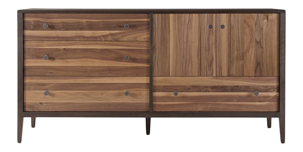 Carbon with Walnut Stripe | West Bros Hayden Door Dresser