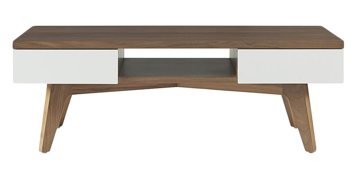 Walnut with Mist Lacquer | West Bros Serra Rectangle Cocktail Table