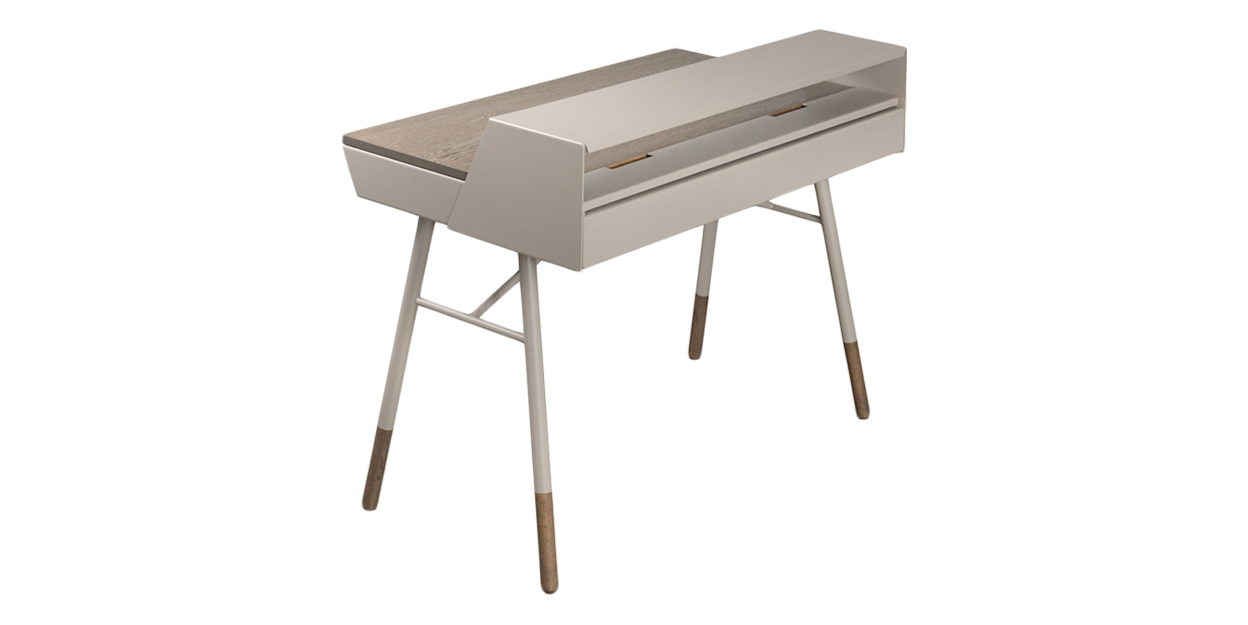 Mushroom and Smoke Oak | Trica Note Desk