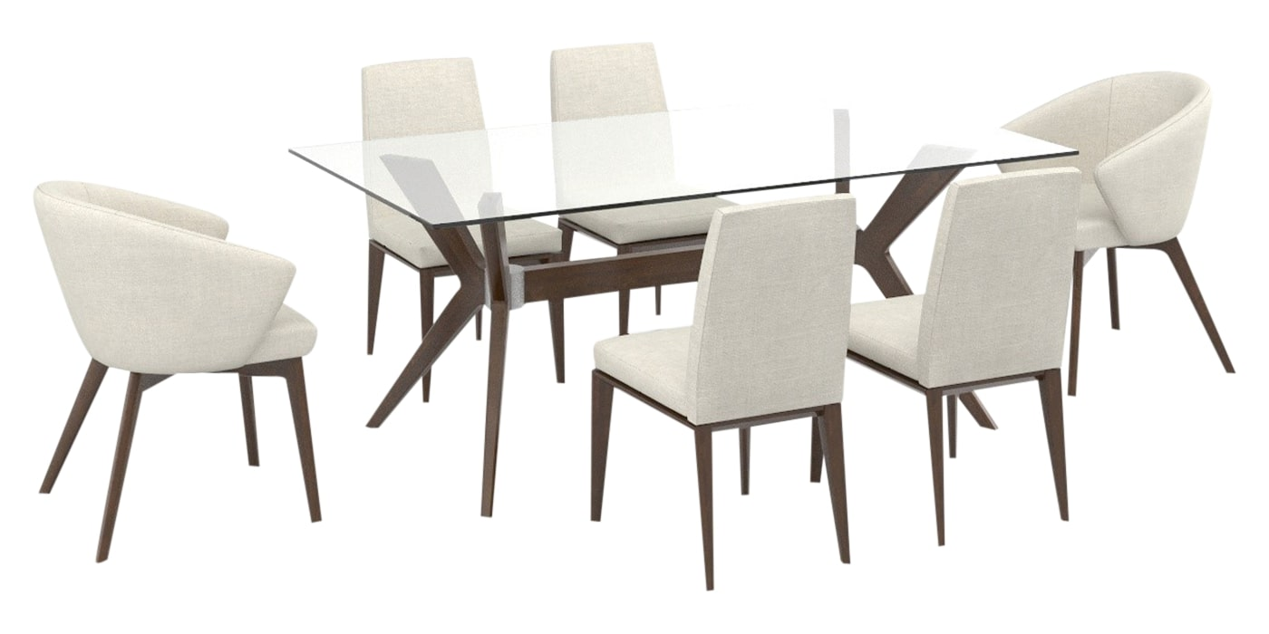 Cognac Washed Birch Wood with Matte Finish & Canadel Fabric AL | Canadel Downtown 4072 CL Dining Set | Valley Ridge Furniture