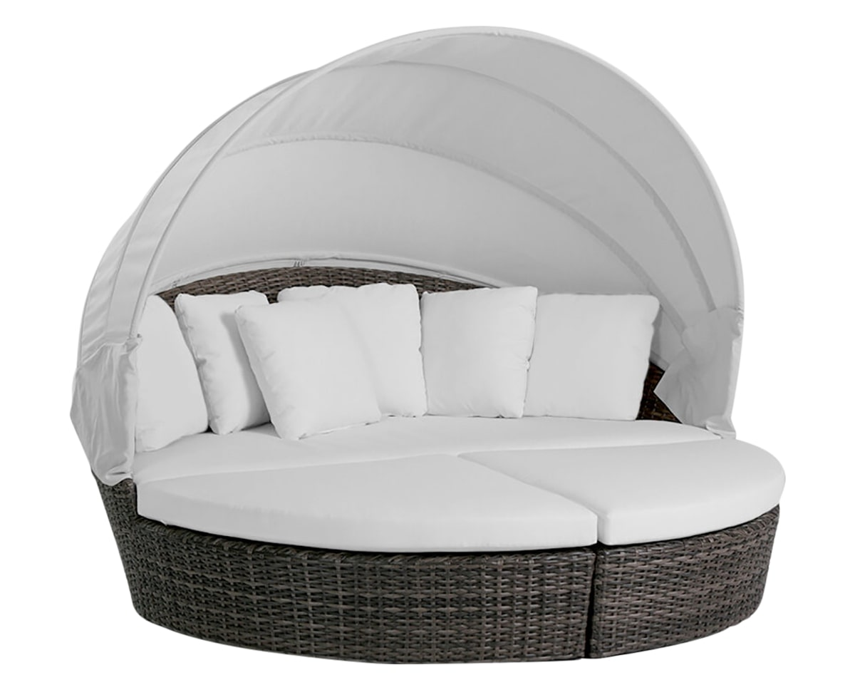 Round Daybed w/Sunbrella® Canopy | Ratana Coral Gables Collection | Valley Ridge Furniture