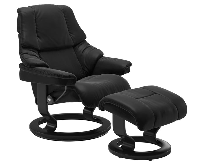 Paloma Leather Special Black M/L & Black Base | Stressless Reno Classic Recliner | Valley Ridge Furniture