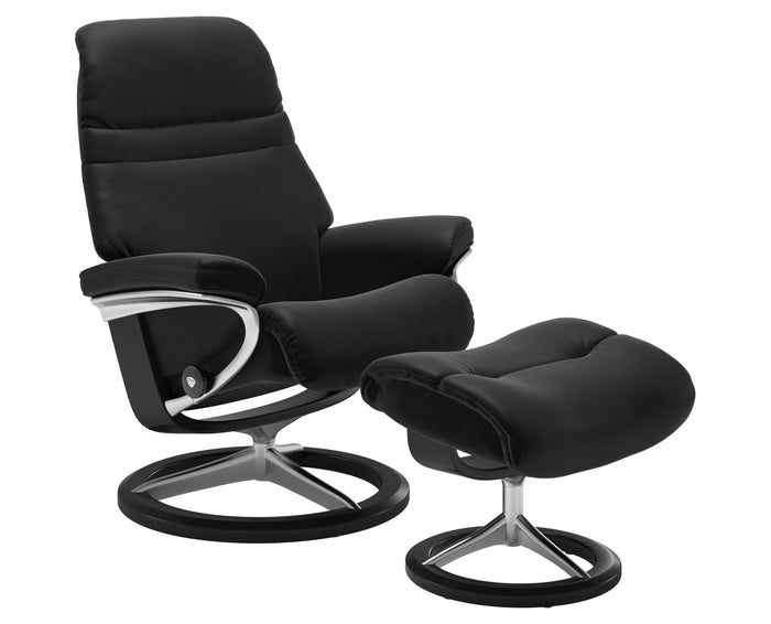 Paloma Leather Special Black M/L & Black Base | Stressless Sunrise Signature Recliner | Valley Ridge Furniture