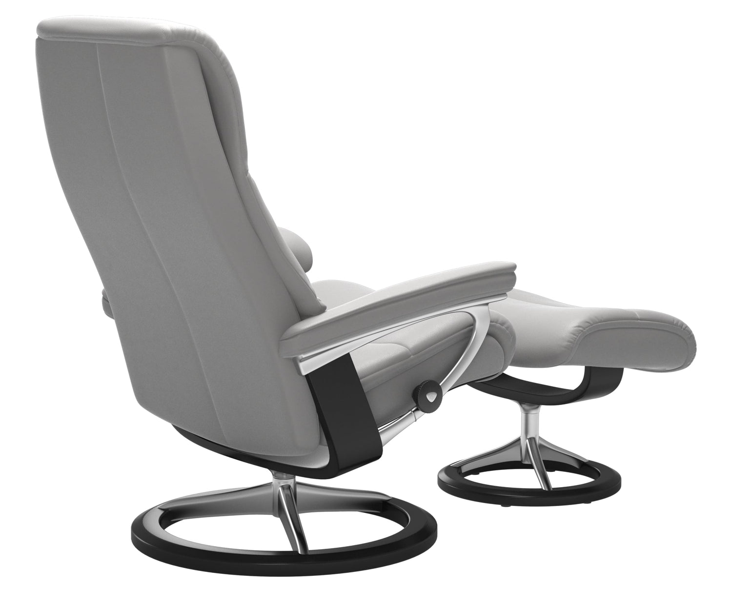 Cori Leather Silver Cloud M/L & Black Base | Stressless View Signature Recliner | Valley Ridge Furniture