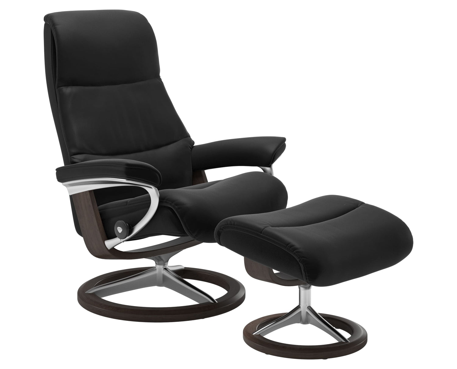 Paloma Leather Special Black L & Wenge Base | Stressless View Signature Recliner | Valley Ridge Furniture