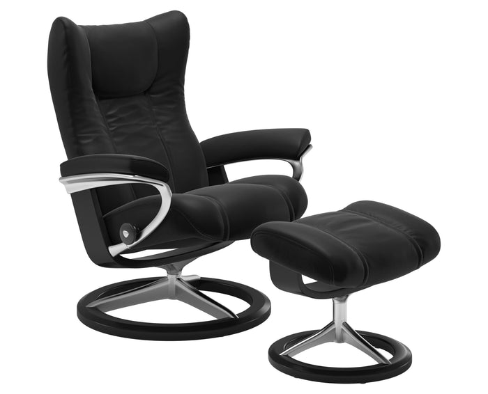Paloma Leather Special Black S/M/L & Black Base | Stressless Wing Signature Recliner | Valley Ridge Furniture