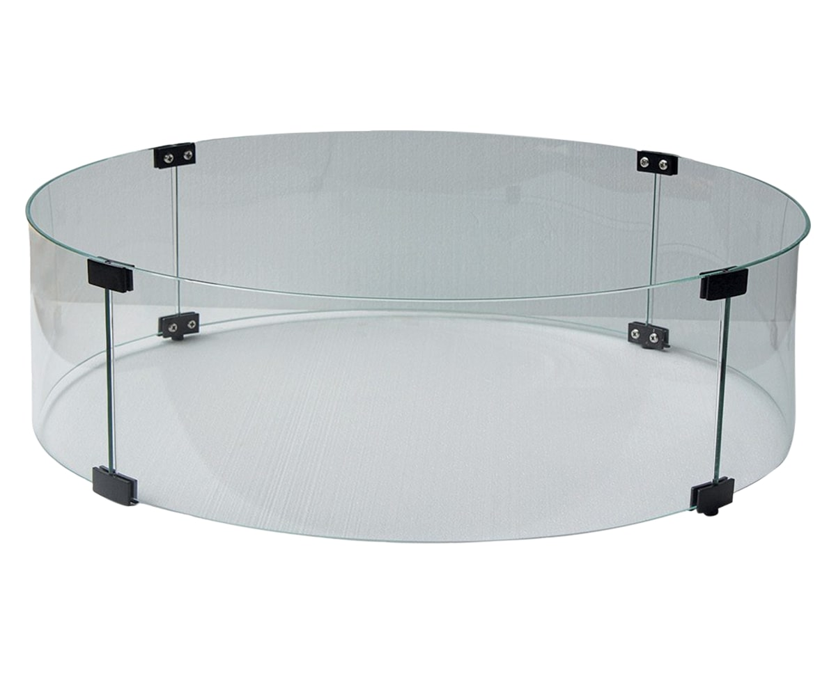 Round Fire Pit Glass Windshield | Ratana Fire Pits Collection | Valley Ridge Furniture