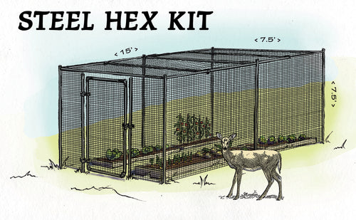 Steel Hex Web Garden Fence Kit With Top, 7.5' x 15'