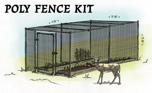 7.5' H Poly Garden Fence Kit- Fully Enclosed 15' x 15'