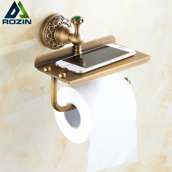 Antique Brass Wall Mount Toilet Paper Roll Holder Shelf Hook