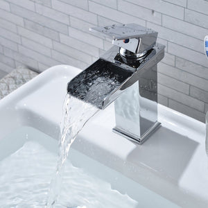 Waterfall Faucet Square Modern Chrome Plating