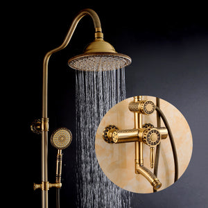 Luxury Antique Brass Shower Set Wall Mounted