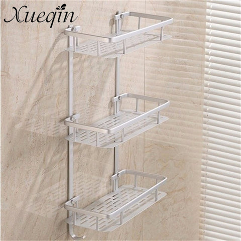 Bathroom Shelves Caddy Basket Rack Alumimum Wall Mounted 1/2/3 Tier