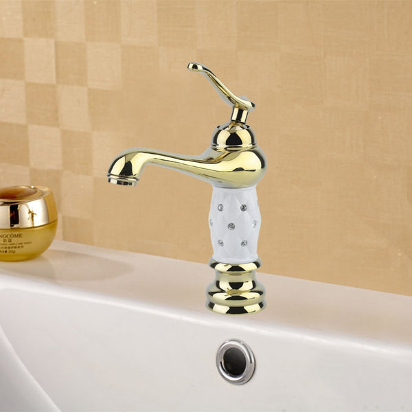 Bathroom Basin Faucet Brass With Diamond Crystal Body Taps Ceramic