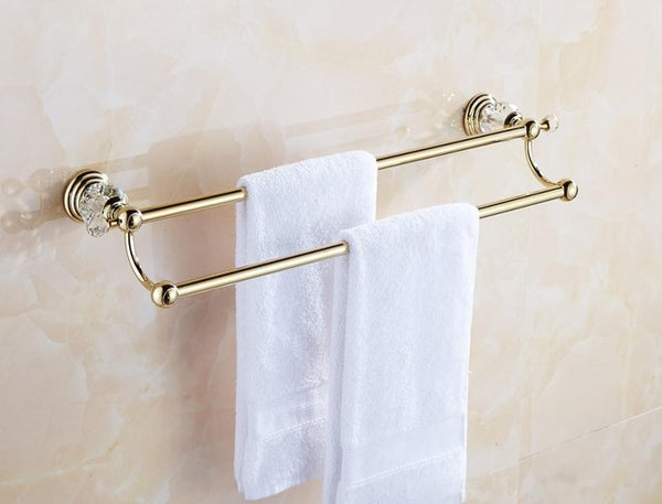 Antique Gold Polished Brass Crystal Bathroom Hardware Set