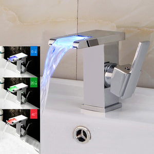 LED RGB Faucet Brass Chromed Temperature Sensitive