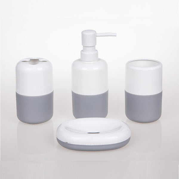 4 Piece Plastic Solid Color Bathroom Set