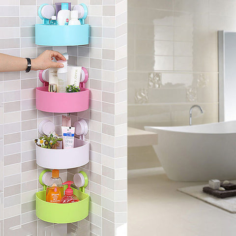 Plastic Suction Cup Corner Storage Rack Shower Shelf