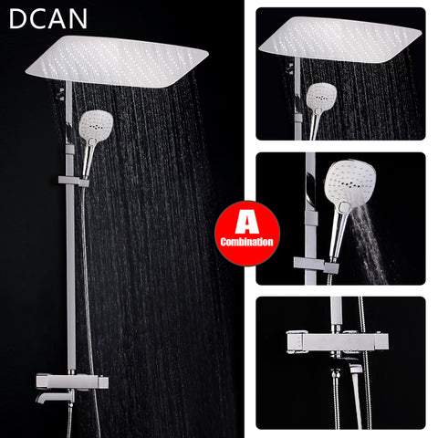 Luxury Bathroom Wall Mounted Rainfall Mixer Shower Combo Set Chrome