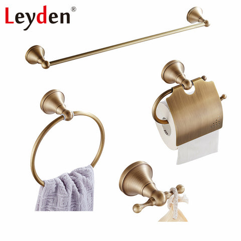 4 Piece Brass Hardware Set Towel Rail, Toilet Paper Holder, Towel Ring, Hook