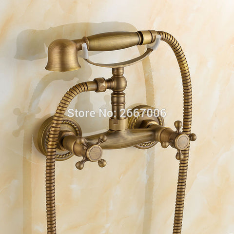 Telephone Style Antique Bronze Shower Head And Faucet