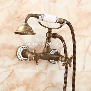 Vintage Telephone Brass Shower Set Ceramic Handle