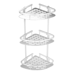 3-Tier Bathroom Shower Corner Rack Basket Shelf (Screws Included)