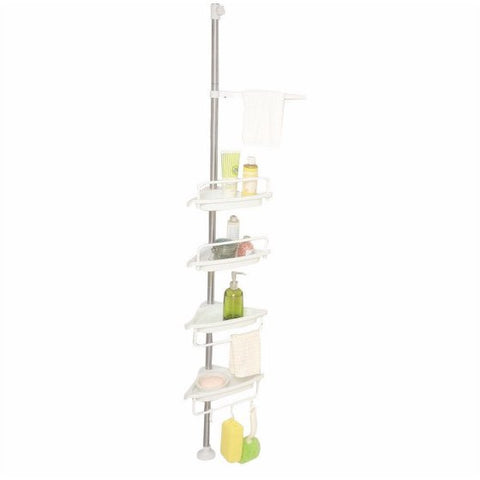 Brushed Stainless Steel Corner Shower Pole Caddy Rack Ivory