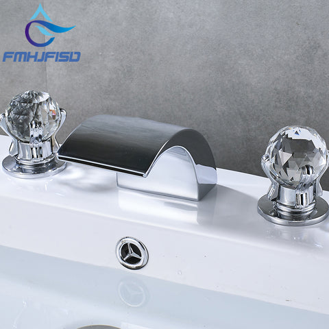 Waterfall Faucet Two Handle Crystal Ball Mixer Tap