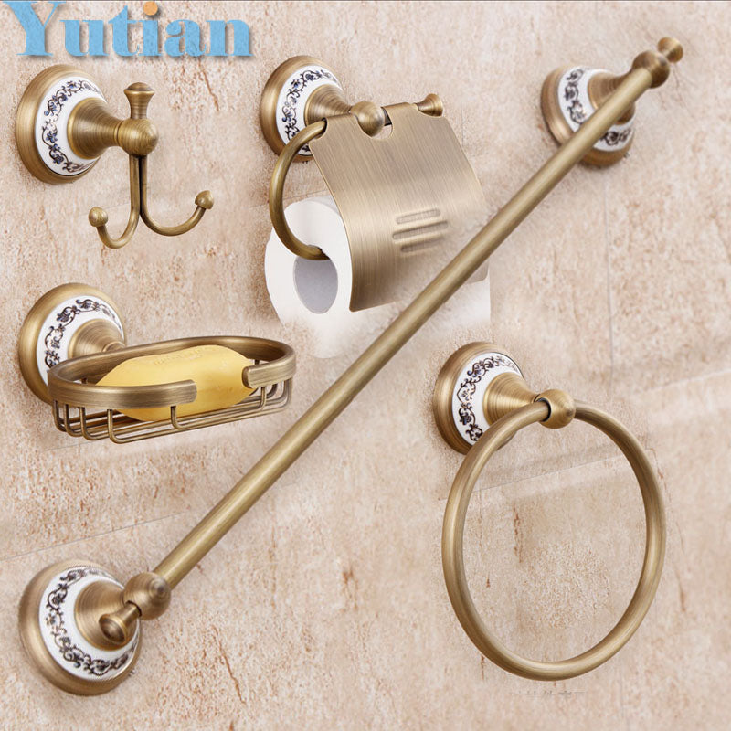 Solid Brass Bathroom Accessories Set, Ring, Hook, Paper Holder, Towel Bar, Soap basket