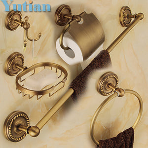 Brass Bathroom Accessories Set, Ring, Hook, Paper Holder, Towel Bar, Soap Basket