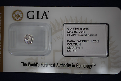 1.02 CT Round Brilliant Diamond GIA Certified - H Color I1 Clarity